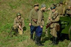 Roleplay - rekonstruktion av striden av världskriget 1941 2 i den Kaluga regionen av Ryssland Royaltyfria Foton
