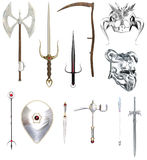 RPG weapons and helmets. Roleplaying Games, or medieval fantasy illustrations of weapons and helmets Royalty Free Stock Images