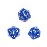 Roleplaying polyhedral dice isolated. Blue roleplaying polyhedral icosahedron gaming plastic dice isolated over the white background, set of three different Royalty Free Stock Photography
