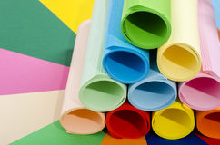 Roles of color paper. Royalty Free Stock Images