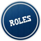 ROLES distressed text on blue round badge. Illustration Royalty Free Stock Image
