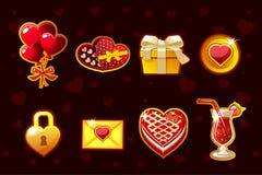 Roleta afortunada do Valentim do St dos desenhos animados, roda de gerencio da fortuna Ícones e símbolos do feriado Ativos do jog ilustração do vetor