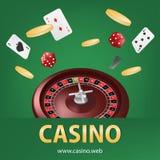 Roleta do casino com moeda de ouro, dado vermelho, bandeira de jogo realística do cartaz dos cartões Roda de roleta da fortuna de ilustração stock