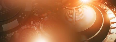 Roleta e Chips Banner Imagens de Stock Royalty Free
