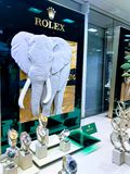 Rolex counter in a department shop, London royalty free stock image