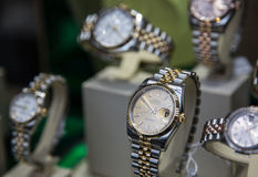 Rolex luxury watches shop. Swiss made Rolex expensive watch is displayed for sale in luxury watches shop Stock Photography
