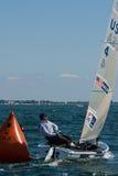 Rolex Miami OCR, Finn Sailor. Miami, January 29, 2011 - US Finn sailor Zach Railey finished 4th at US Sailing's Rolex Miami Olympic Classes Regatta, moving him Royalty Free Stock Photos