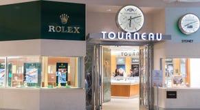 Rolex-opslag in Philadelphia Rolex SA is een Zwitserse luxehorlogemaker Het is het grootste enige merk van het luxehorloge, die o royalty-vrije stock afbeelding