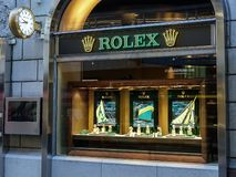 Rolex-opslagvoorzijde Zwitserse luxehorlogemaker royalty-vrije stock fotografie