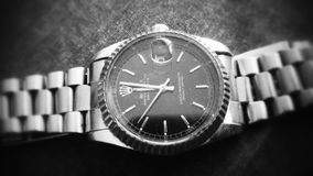 rolex rocznika ciemnego czerni zegarka wirstwatch hd Zdjęcia Stock