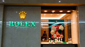 Rolex shop at the Sand Bay shopping mall in Singapore Stock Images
