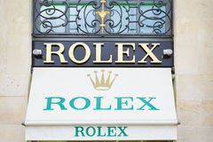 Rolex shop sign in place Vendome in Paris Stock Photo