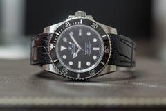 Rolex submariner geen datum op leerlijst Royalty-vrije Stock Fotografie