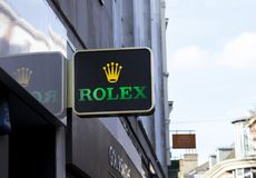 Rolex watches sign in the city centre, Nottingham royalty free stock images