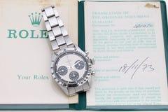 Rolex wristwatch w pokazu okno Obraz Royalty Free