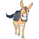 Rolig åsna med en sadel vektor illustrationer