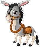Rolig åsna som ler med en sadel royaltyfri illustrationer