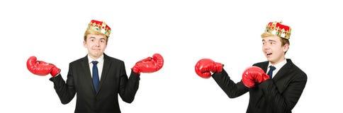 Rolig aff?rsman med krona- och boxninghandskar royaltyfria foton