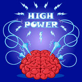 Rolig affisch: hjärna med elektroder som aktiveras, och text för att planlägga ett baner eller för att täcka apparaten också vekt Royaltyfri Foto