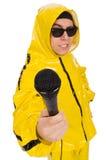 Rolig aktör med isolerad mic Fotografering för Bildbyråer