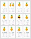 Rolig ananaskalender 2019 royaltyfri illustrationer