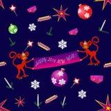 Rolig apa med bananen, det nya året och julhälsningkortet, bakgrund, Fotografering för Bildbyråer