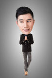 Rolig asiatisk stor head man Royaltyfria Foton