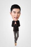 Rolig asiatisk stor head man Arkivbilder
