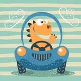 Rolig bil för gulligt dino drev vektor illustrationer