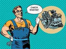 Rolig bil för reparation för mekanikerkontrollmotor Royaltyfri Fotografi
