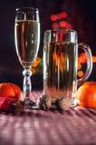 Rolig bild av en vinglas och ett ölexponeringsglas av champagne Arkivfoto