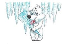 Rolig björn med frukter royaltyfri foto