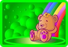 rolig björn på regnbågen Royaltyfria Bilder
