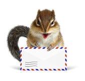 Rolig brevbärarejordekorre med flygpostbokstaven Arkivbilder