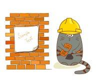 Rolig byggnadsarbetare som isoleras på vit Royaltyfria Foton