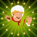 Rolig Chef.Sticker Arkivbilder