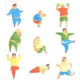 Rolig Chubby Man Character Doing Gym genomkörareuppsättning av illustrationer Fotografering för Bildbyråer