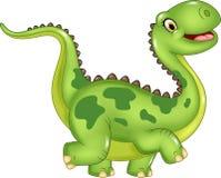 Rolig dinosaurie för tecknad film på vit bakgrund Arkivfoton