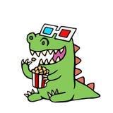 Rolig dinosaurie i exponeringsglas 3d och en ask av popcorn också vektor för coreldrawillustration Arkivbild