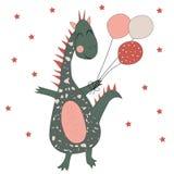 Rolig dinosaurie med ballonger royaltyfri illustrationer