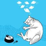 Rolig drömma katt Serie av komiska katter Royaltyfri Illustrationer