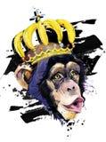 Rolig dragen vattenfärgillustration för apa hand royaltyfri illustrationer