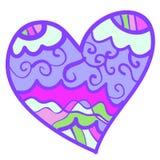 Rolig färgrik hjärta med krullning. Arkivfoto