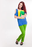 Rolig färgrik ung student. Royaltyfri Bild