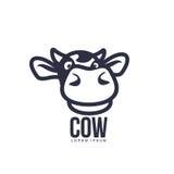 Rolig för kohuvud för främre sikt mall för logo Royaltyfri Foto