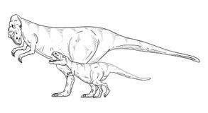 rolig familj för tecknad filmteckendinosaurs Arkivfoton