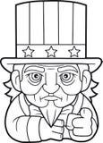 Rolig farbror Sam, gullig illustration Arkivfoto