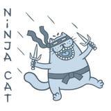 Rolig fet kattkrigareskugga anfaller med dolkar också vektor för coreldrawillustration royaltyfri illustrationer