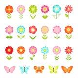 Rolig fjäril på blommor i trädgård Illustrationer av den naturliga blomman i plan stilisolat på vit bakgrund stock illustrationer