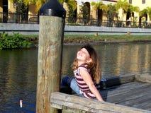 rolig flicka för fiske little Fotografering för Bildbyråer